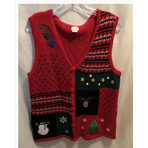 Size Large Holiday Editions Sweater Vest Christmas